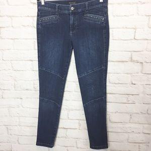 WHBM Stretch Skinny Moto dark wash jeans